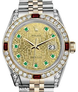 Rolex Women's Rolex Steel & Gold 31mm Datejust Two Tone Dial Ruby & Diamond