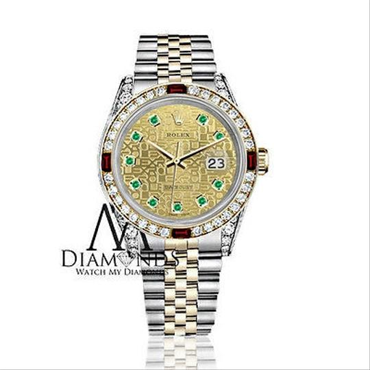 Rolex Women's Rolex Steel & Gold 31mm Datejust Two Tone Dial Ruby & Diamond Image 1