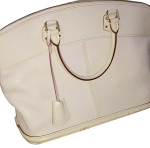 Louis Vuitton Goat Leather Suhali Lockit Satchel in White
