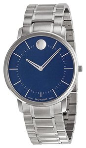 Movado Blue Dial Silver tone Stainless Steel Designer MENS Dress Watch