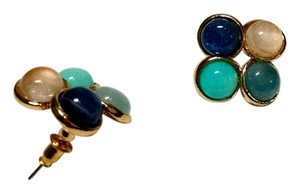 New 14K Gold Filled With Blue, Peach White Stud Earrings J633