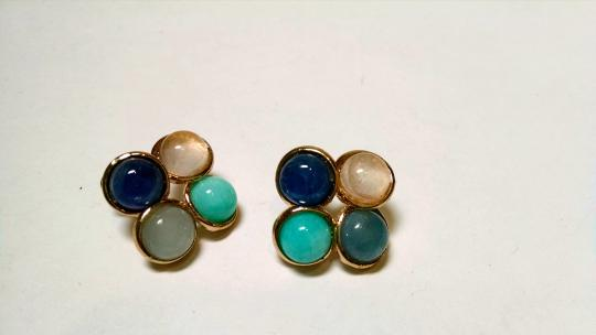 Other New 14K Gold Filled With Blue, Peach White Stud Earrings J633
