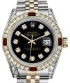 Rolex Women's Rolex S/S Gold 31mm Datejust Black Dial Watch Ruby & Diamond Image 0