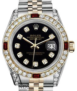 Rolex Women's Rolex S/S Gold 31mm Datejust Black Dial Watch Ruby & Diamond