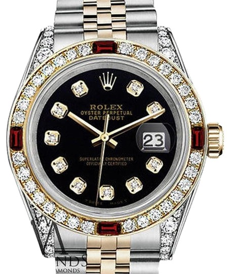 Preload https://img-static.tradesy.com/item/17234974/rolex-women-s-ss-gold-31mm-datejust-black-dial-ruby-and-diamond-watch-0-1-540-540.jpg