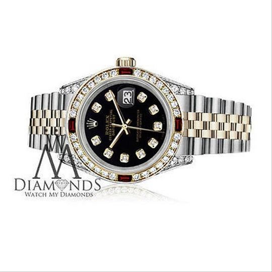 Rolex Women's Rolex S/S Gold 31mm Datejust Black Dial Watch Ruby & Diamond Image 2