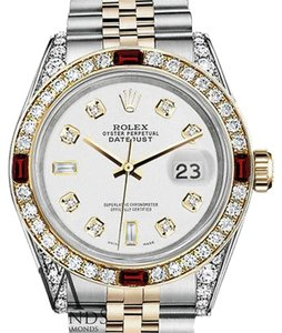 Rolex Women's Rolex S/Steel & Gold 31mm Datejust Watch White 8+2 Dial Ruby & Diamond Bezel