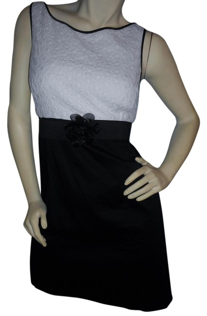Item - Black & White Empire Waist 16p Above Knee Night Out Dress Size 16 (XL, Plus 0x)