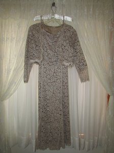Montage Taupe Montage Lace Gown Dress