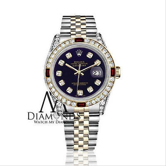 Rolex Women's Rolex S/Steel & Gold 31mm Datejust Dial Ruby & Diamond Image 1