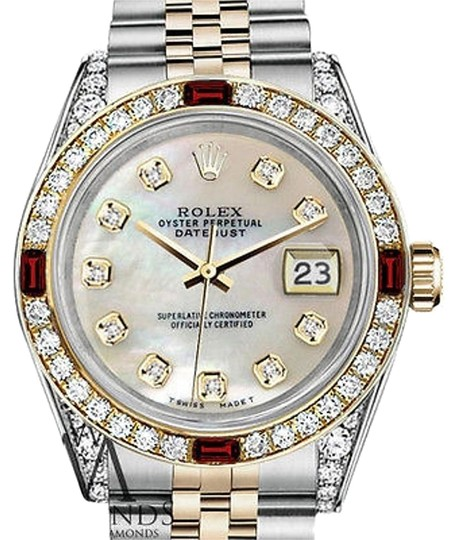 Preload https://img-static.tradesy.com/item/17235505/rolex-women-s-steel-and-gold-31mm-white-mop-color-dial-ruby-diamond-watch-0-1-540-540.jpg
