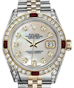 Rolex Rolex Steel & Gold 36mm Datejust White MOP Color Dial Ruby Diamond