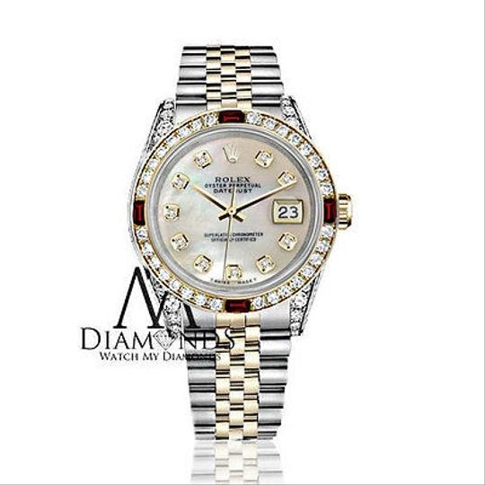 Rolex Rolex Steel & Gold 36mm Datejust White MOP Color Dial Ruby Diamond Image 1