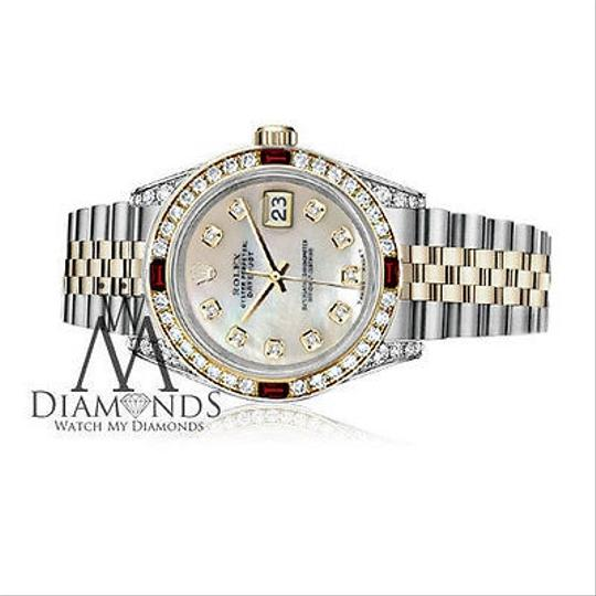 Rolex Rolex Steel & Gold 36mm Datejust White MOP Color Dial Ruby Diamond Image 2