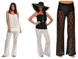 Elan Boho Resort Beach Swimwear Relaxed Pants Ivory