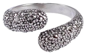 New Marcasite and 925 Sterling Silver Gemstone Ring Sz 10.5 Adjustable