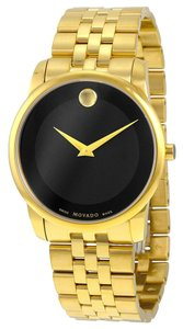 Movado Black Dial Gold tone Stainless Steel Designer MENS Dress Watch