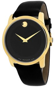 Movado Black Dial God tone Stainless Steel Black Leather Strap Designer MENS Dress Watch