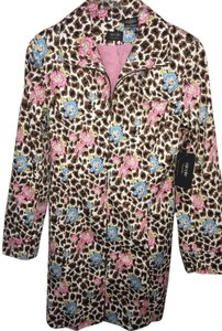 Nicole Miller Leopard Slightly Worn Trench Coat