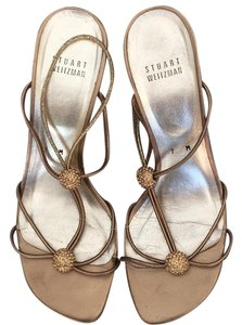 Stuart Weitzman Embellished gold Sandals