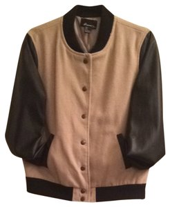 Forever 21 Beige With Black Sleeves Jacket