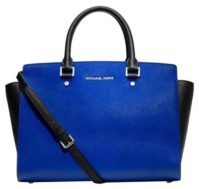 Item - Selma Top Zip Large Satchel Saffiano New with Tags Black and Blue Color Silver Hardware Leather Tote
