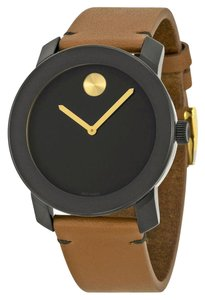 Movado Black Dial Gold Accents Brown Leaher Strap Designer MENS Casual Watch