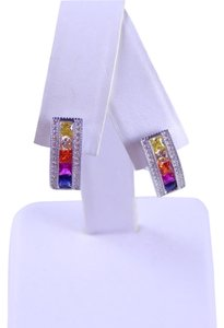 RAINBOW SAPPHIRE SINGLE ROW EARRING 3 x 3mm PRINCESS CUT CHANNEL SET STERLING SILVER