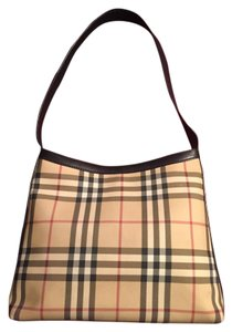 Burberry Leather Nova Check Tote Shoulder Bag