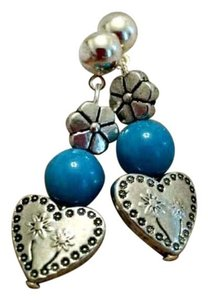 JennAKrause Collection Brand new! Blue Stone HeartsrHandmad Earrings
