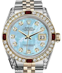 Rolex Women's Rolex Steel & Gold 31mm Datejust Baby Blue MOP Ruby Diamond