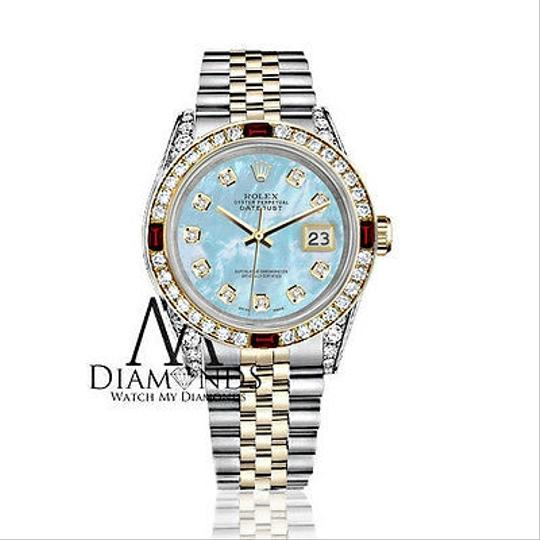 Rolex Women's Rolex Steel & Gold 31mm Datejust Baby Blue MOP Ruby Diamond Image 1