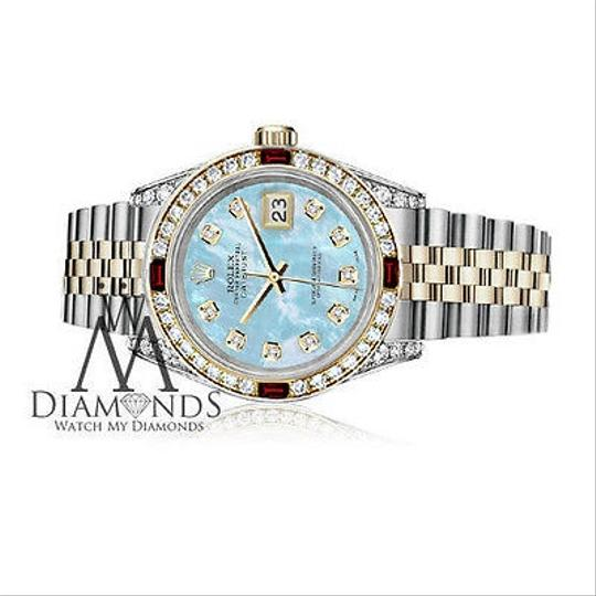 Rolex Women's Rolex Steel & Gold 31mm Datejust Baby Blue MOP Ruby Diamond Image 2