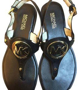 MICHAEL Michael Kors Black leather with gold logo Sandals