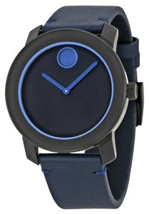 Movado Navy Blue Stainless Steel Dial Blue Leather Strap Designer MENS Casual Watch