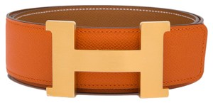 Hermès Hermes 42mm Orange/Gold Constance H Belt Brushed Gold Buckle 85 cm