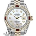 Rolex Rolex Steel & Gold 36mm Datejust Watch White MOP Dial Ruby & Diamond Image 0