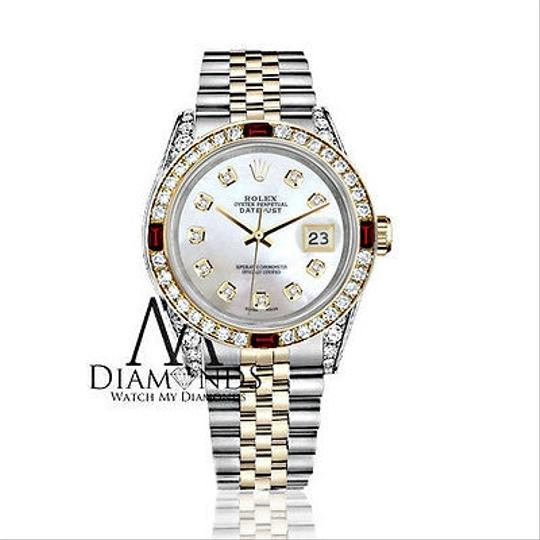 Rolex Rolex Steel & Gold 36mm Datejust Watch White MOP Dial Ruby & Diamond Image 1
