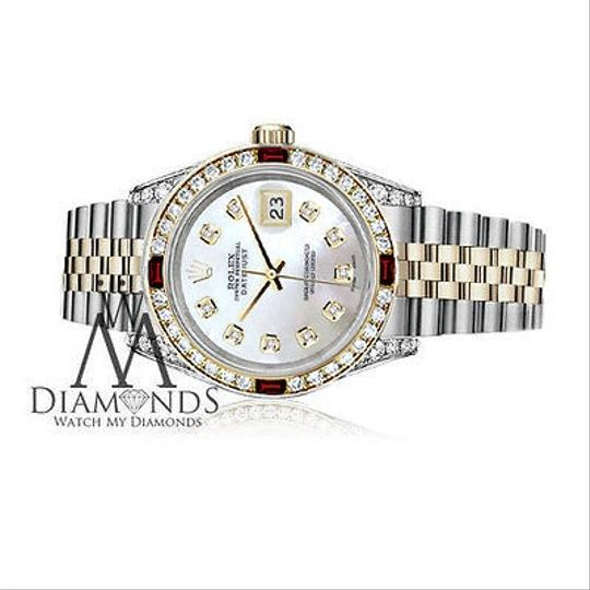 Rolex Rolex Steel & Gold 36mm Datejust Watch White MOP Dial Ruby & Diamond Image 2
