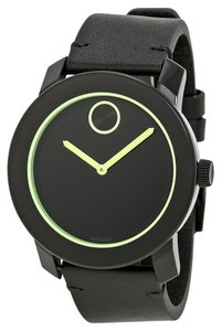 Movado Black Dial with Green Accents Black Leather Strap Designer MENS Casual Watch
