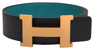 Hermès Hermes 42mm Blue Indigo/Blue Paon Constance H Belt Brushed Gold 85 cm
