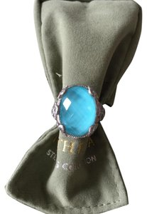 Judith Ripka Judith Ripka Stunning Sterling Silver Turquoise Doublet Ring Size 6