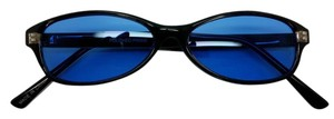 Elle Cross Elle Cross Euro Black Background Glossy Frame Small Silhouette Blue Lens Sunglasses 100%UV Protections