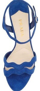 Prada Wavy Suede Blue Sandals