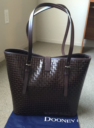 Dooney & Bourke Woven Dover New With Tags (Nwt) Middle Divider Tote in Brown T'moro Image 1