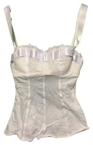Intimissimi Cotton Satin Lace Trim Corset Top White