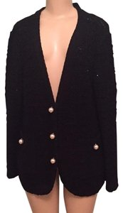 St. John Tweed Jacket Knitted Pearl Buttons Black Blazer