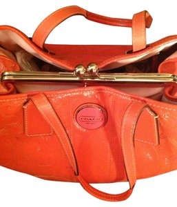 Coach Patent Leather Rare Tote in Orange