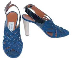 Lanvin Denim Distressed Leather Shredded Blue Sandals