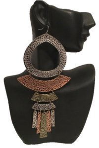 Burnished Gold, Silver, & Copper Hammered Tribal Dangle Earrings